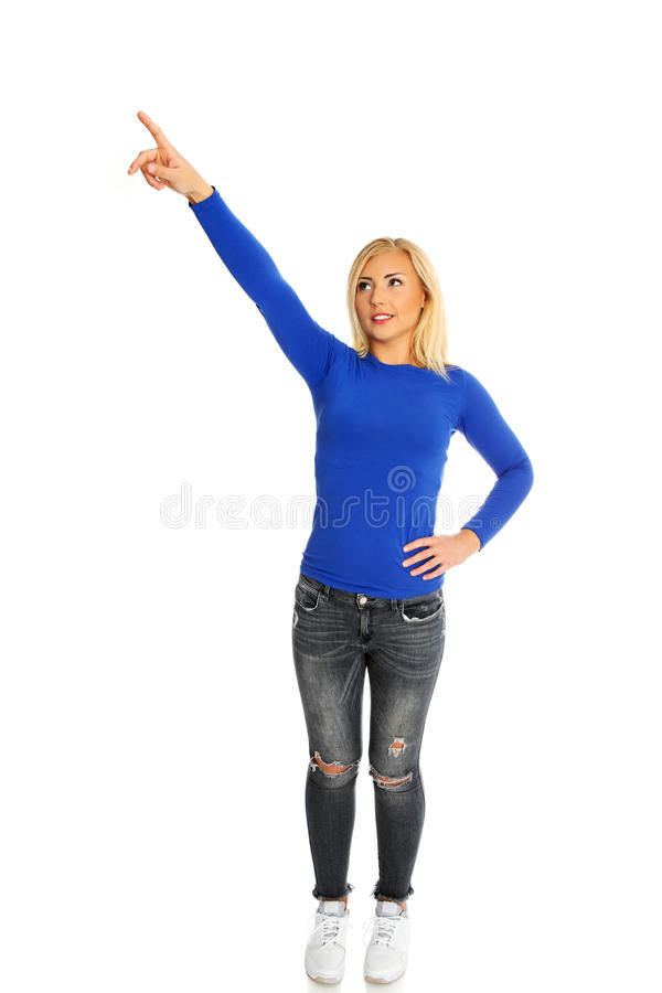 Finger showing on side. royalty free stock photography