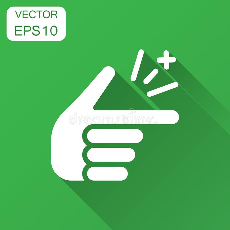 Finger snap icon in flat style. Fingers expression vector illustration with long shadow. Snap gesture business concept.  royalty free illustration