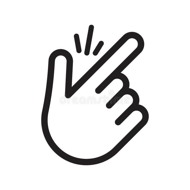 Finger snap with snapping sound lines. Popular gesturing. Vector illustration isolated on white background vector illustration