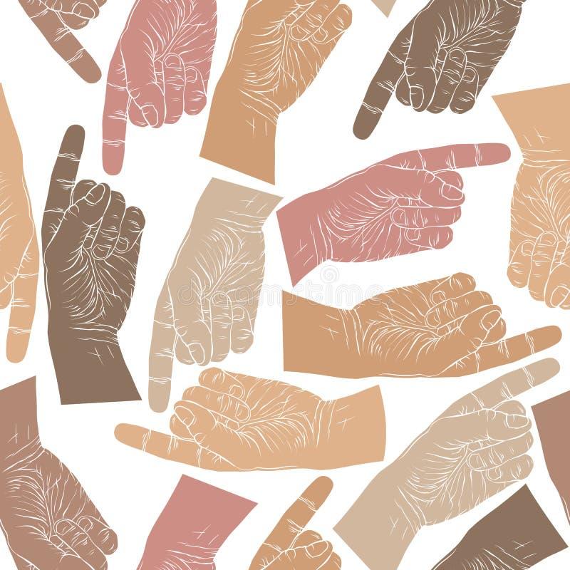 Finger som pekar händer sömlös modell, vektorbakgrund royaltyfri illustrationer