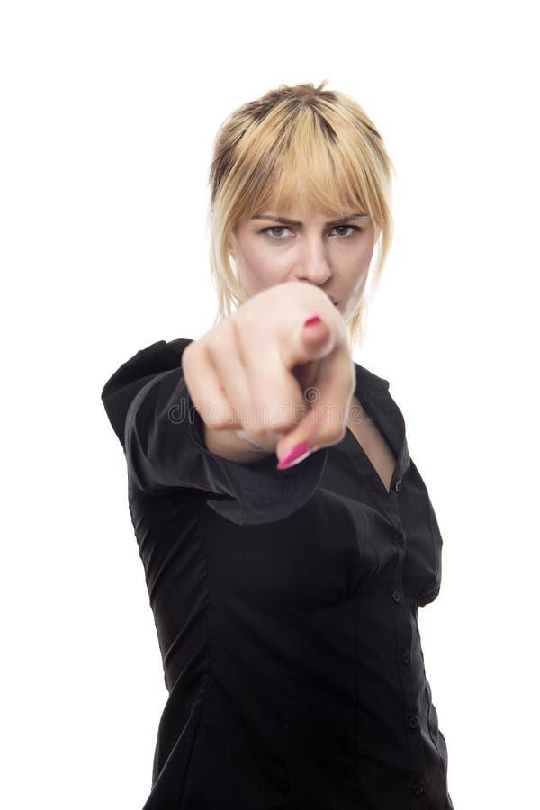finger som pekar kvinnan arkivfoton