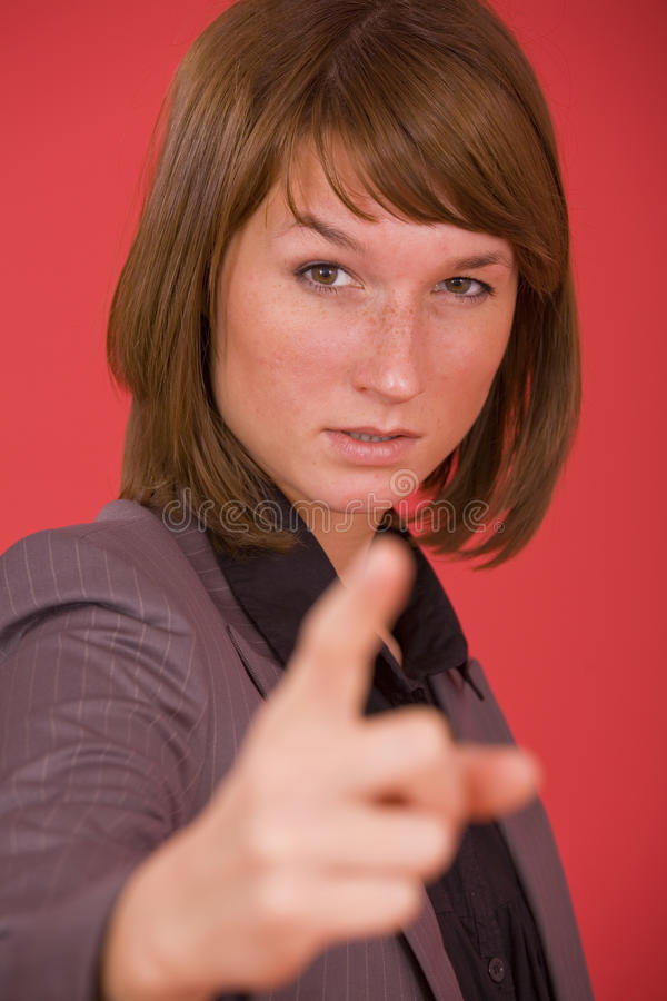 finger som pekar kvinnan royaltyfria bilder