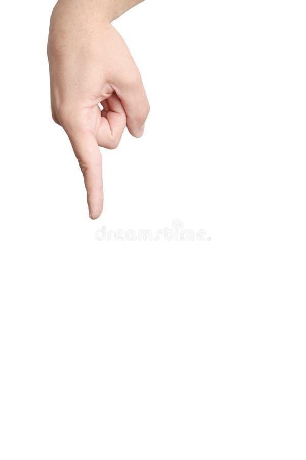 finger som skjuter uppvisning royaltyfri bild