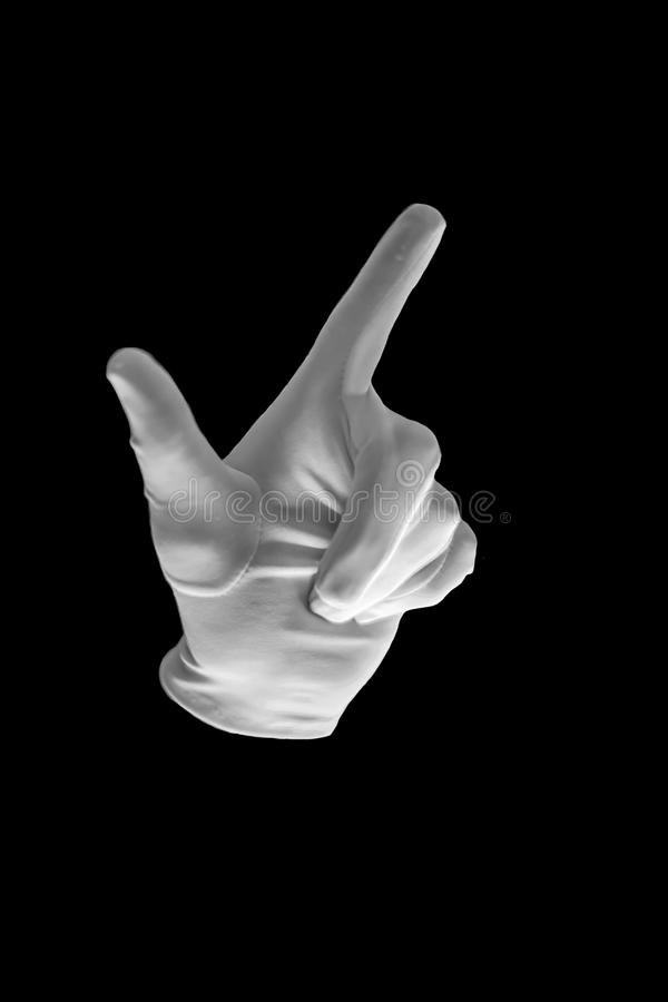 Finger Spelling the Alphabet in American Sign Language ASL. The Letter L. female hand gesture on black background stock photography