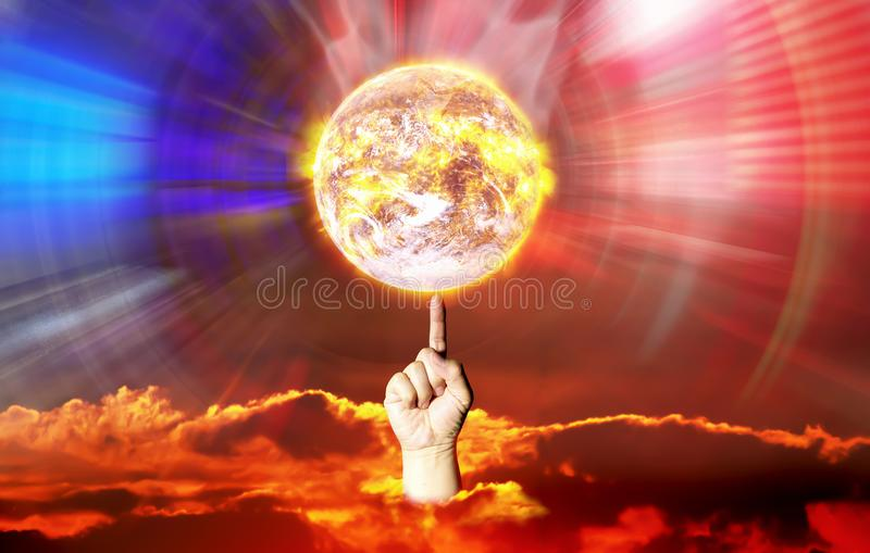 Finger spin hot earth shown manipulation of control power cause royalty free stock photo