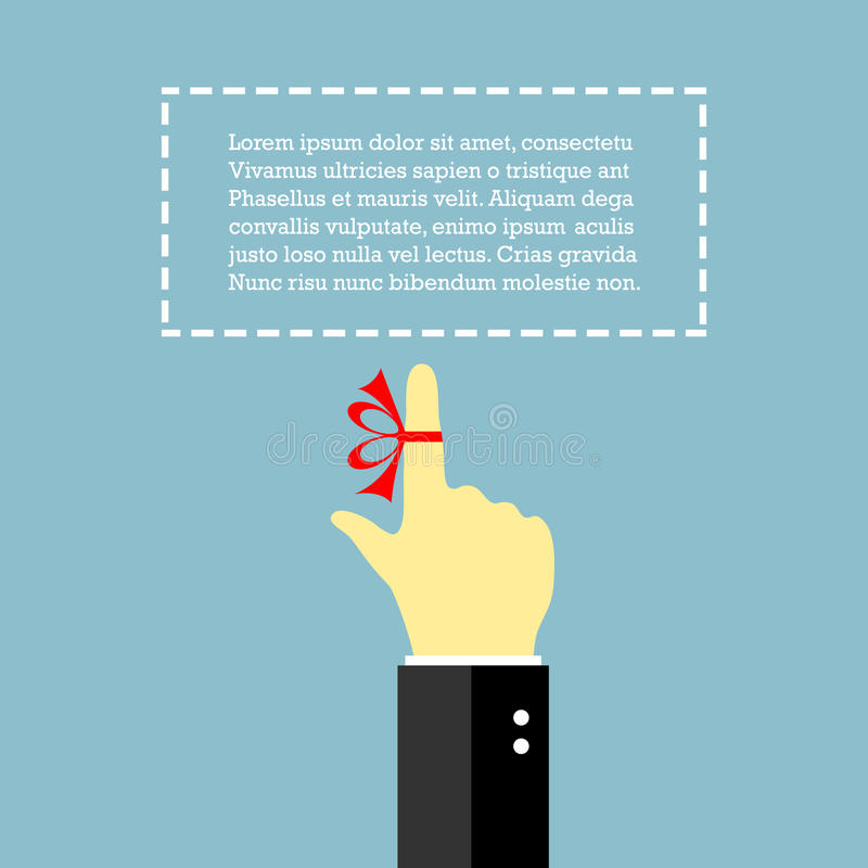 Finger with string. Reminder poster with textbox royalty free illustration