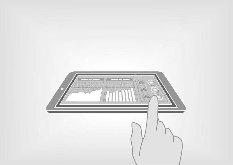 Finger swiping smart phone or tablet to access digital information via information dashboard. Information at your fingertips with illustration in flat design vector illustration