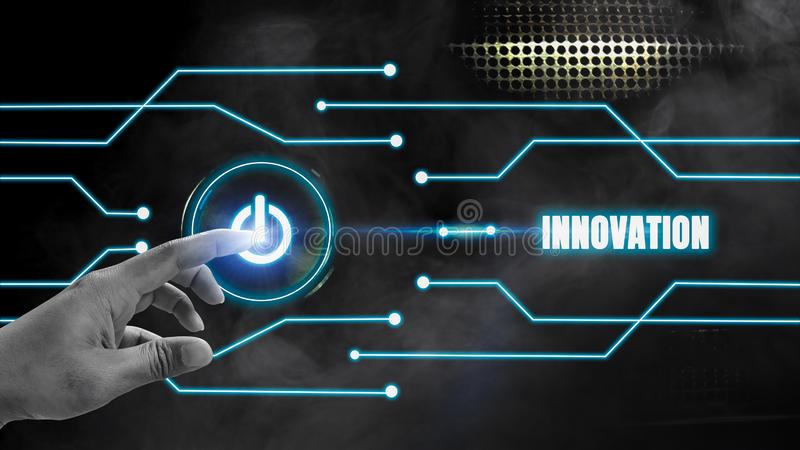 Finger touch button on-off glows on a black metal background And blue glow lines with innovation concept, the development of stock illustration