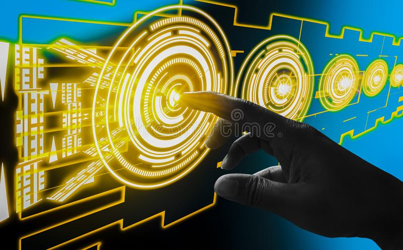 Finger touch interface abstract concepts, involving very modern futuristic technology and design,with innovative humanity,creating stock photography