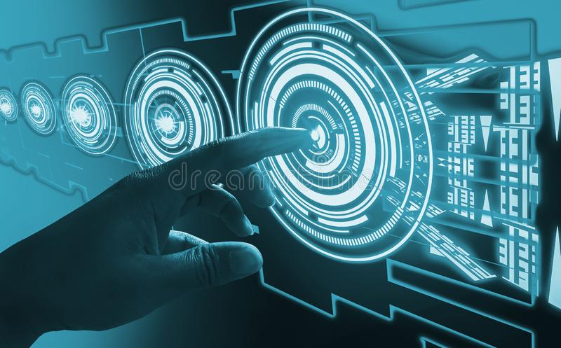 Finger touch interface abstract concepts, involving very modern futuristic technology and design,with innovative humanity,creating stock image