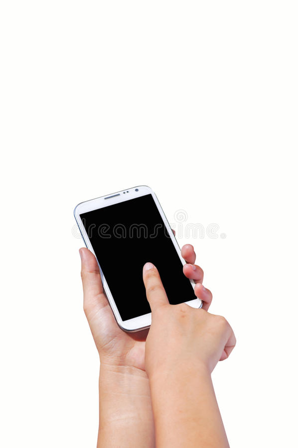 Finger touch screen and hand hold cell phone. Isolated on white background for concept of communication royalty free stock images