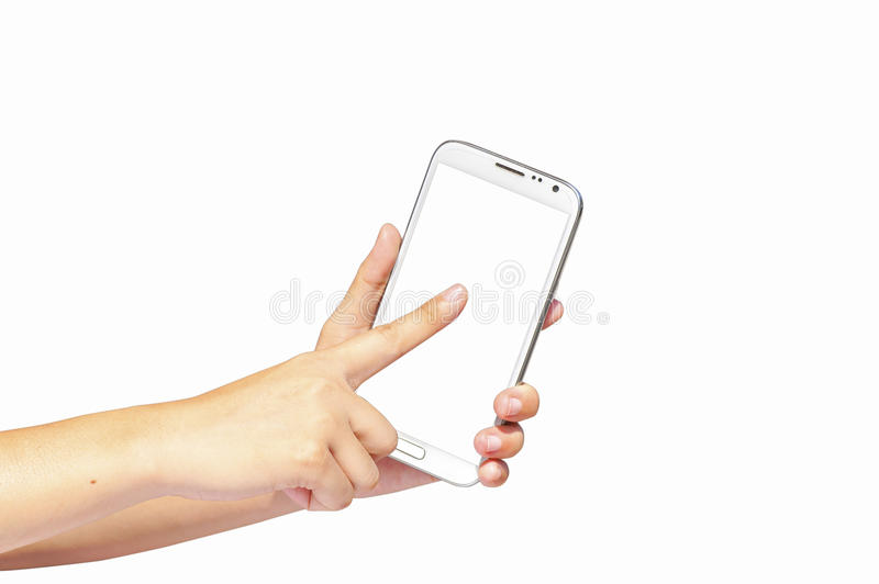Finger touch screen and hand hold cell phone. Isolated on white background for concept of communication royalty free stock image