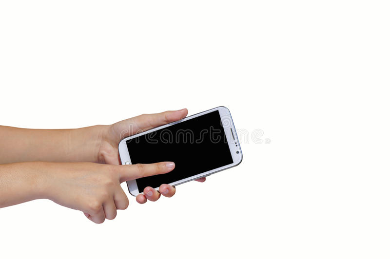 Finger touch screen and hand hold cell phone. Isolated on white background for concept of communication stock images