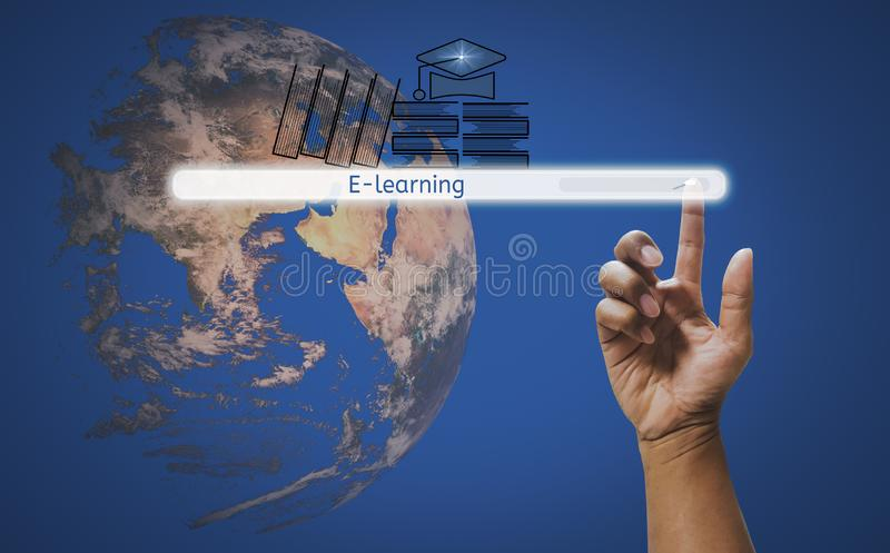 Finger touch screen interface search engine button to find e-learning, Background is world,concept of online and internet literacy royalty free stock photography