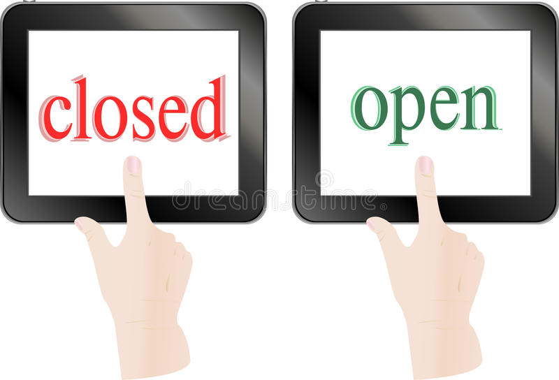 Download Finger Touch Screen Tablet Pc - Open Closed Theme Stock Illustration - Image: 25406730