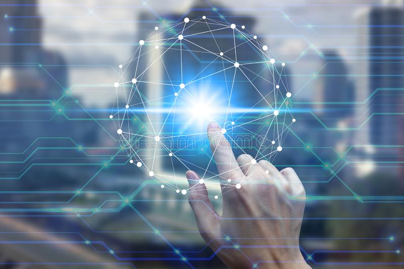 Finger touch with virtual screen over the Network connection.  royalty free stock image