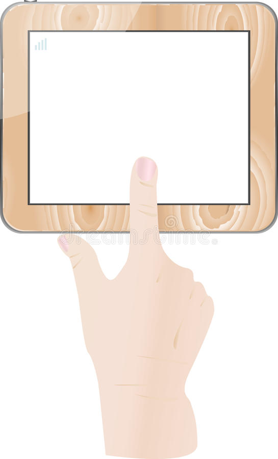 Download Finger Touch Wooden Tablet Pc Screen Stock Vector - Image: 25884331
