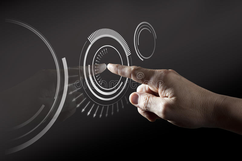 Finger Touching Digital Touch Screen. Finger Touching Black Digital Touch Screen royalty free stock images