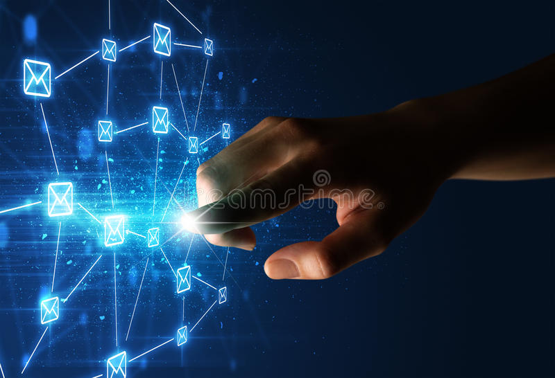 Finger touching interface. Female finger touching a beam of light surrounded by a blue graphic with envelopes royalty free illustration