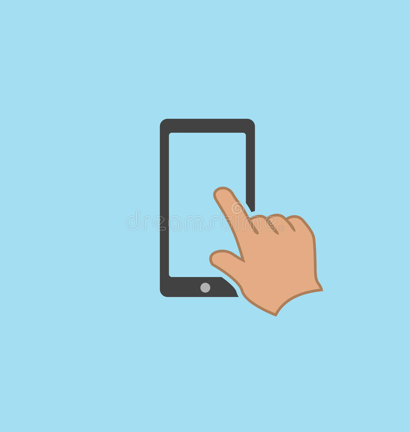 Finger touching smartphone screen. Finger touching smartphone screen icon royalty free illustration