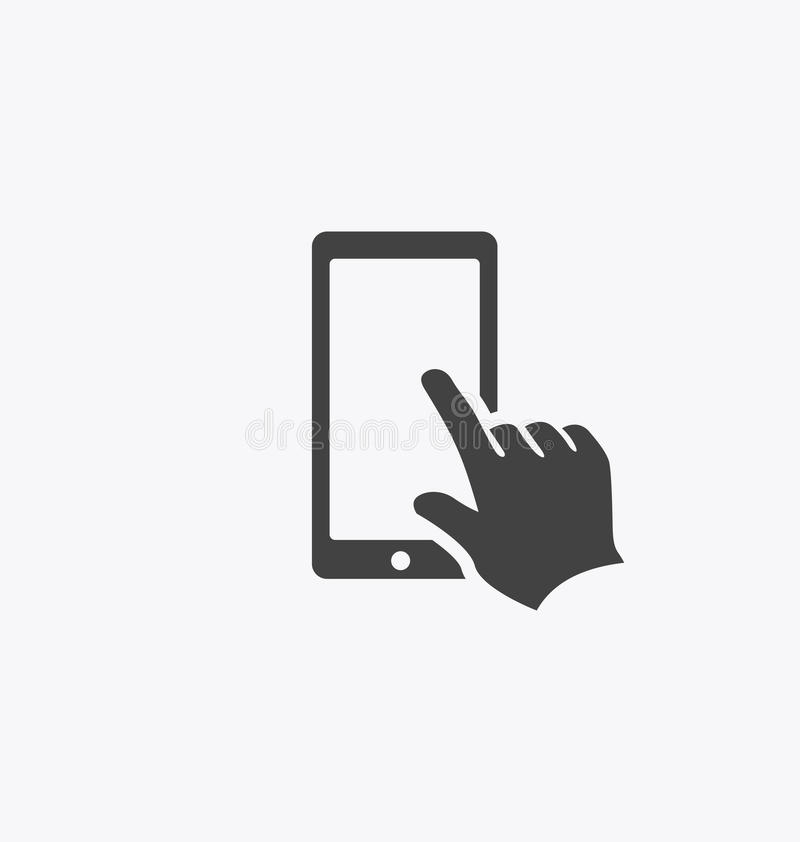 Finger touching smartphone screen. Finger touching smartphone screen icon stock illustration