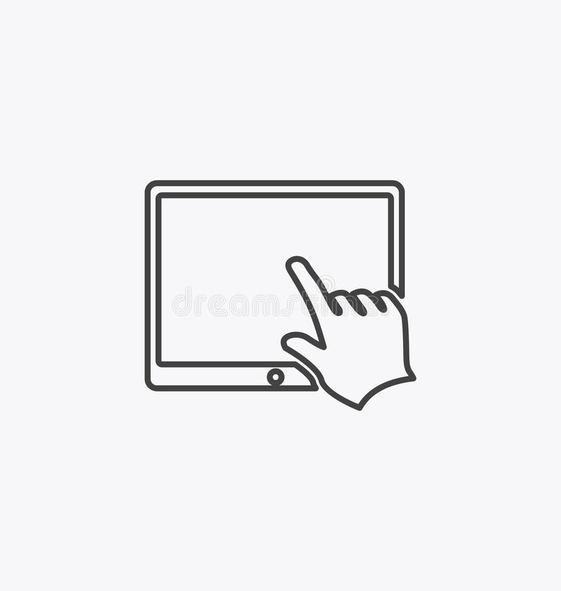 Finger touching tablet screen. Finger touching tablet screen icon vector illustration