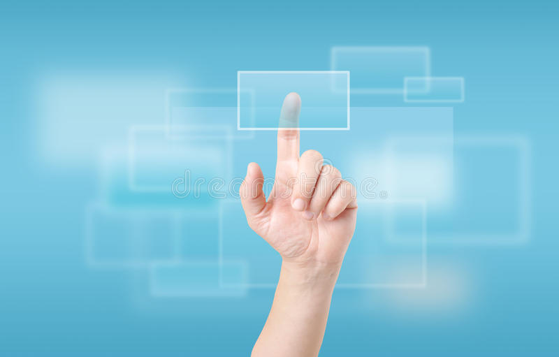 Finger touching touch screen. Finger touching transparent digital touch screen royalty free stock photos