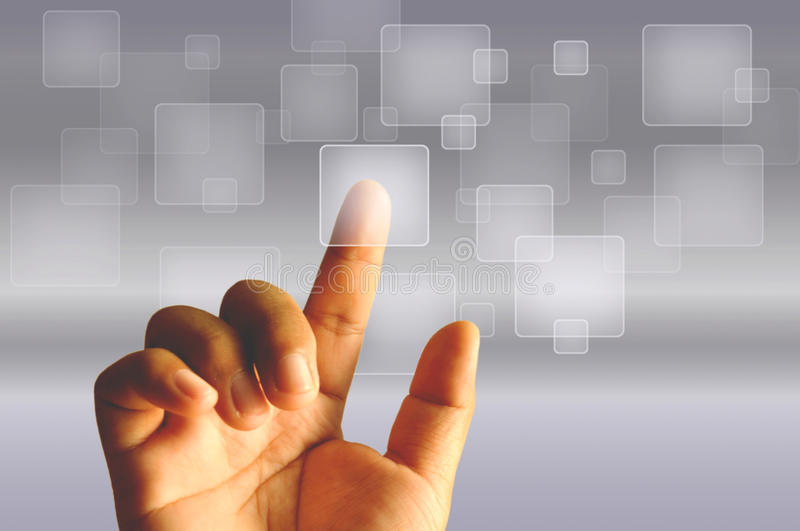 Finger Touching Transparent Digital Touch Screen. Show high technology stock photo