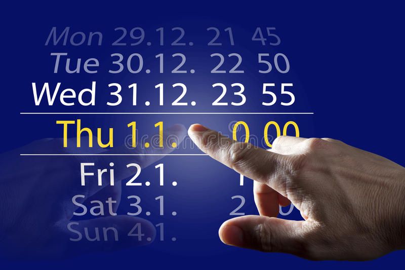 Finger Touching Year 2015. Finger Touching Blue Digital Touch Screen stock image