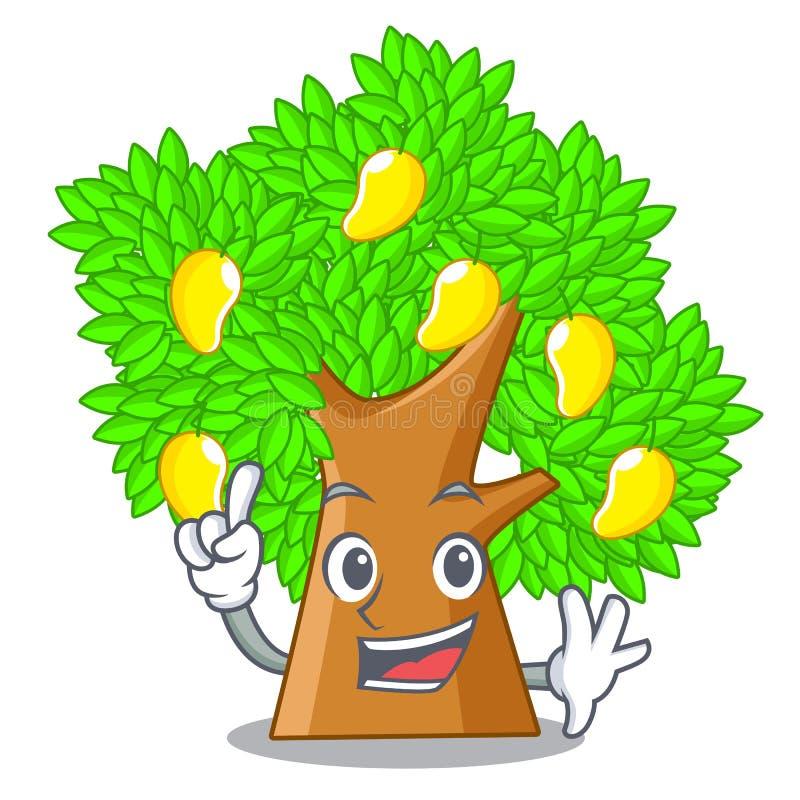 Finger toy cartoon mango tree above table. Vector illustration stock illustration