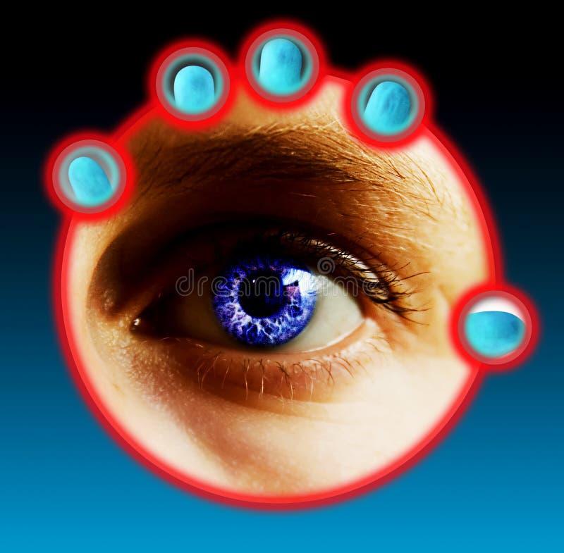 Finger-und Augen-Scan stockfotografie