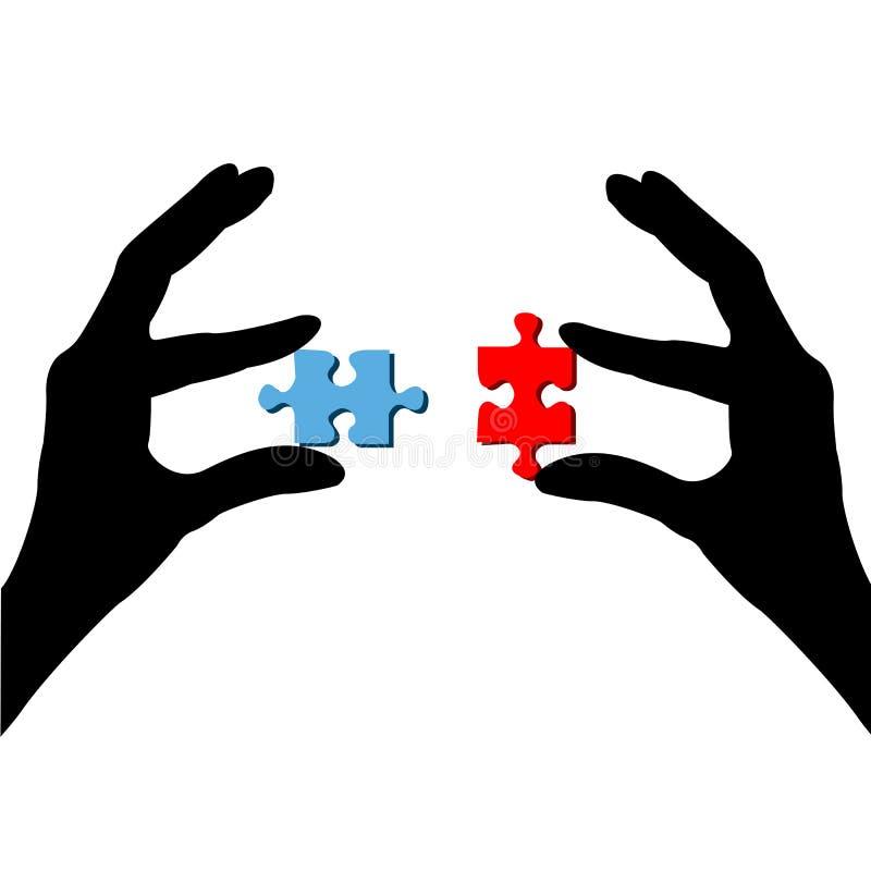 Finger und Puzzlespiel stock abbildung