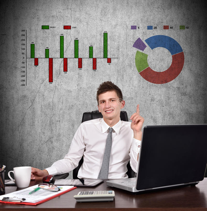 Finger up. Businessman showing finger up to stock chart stock images
