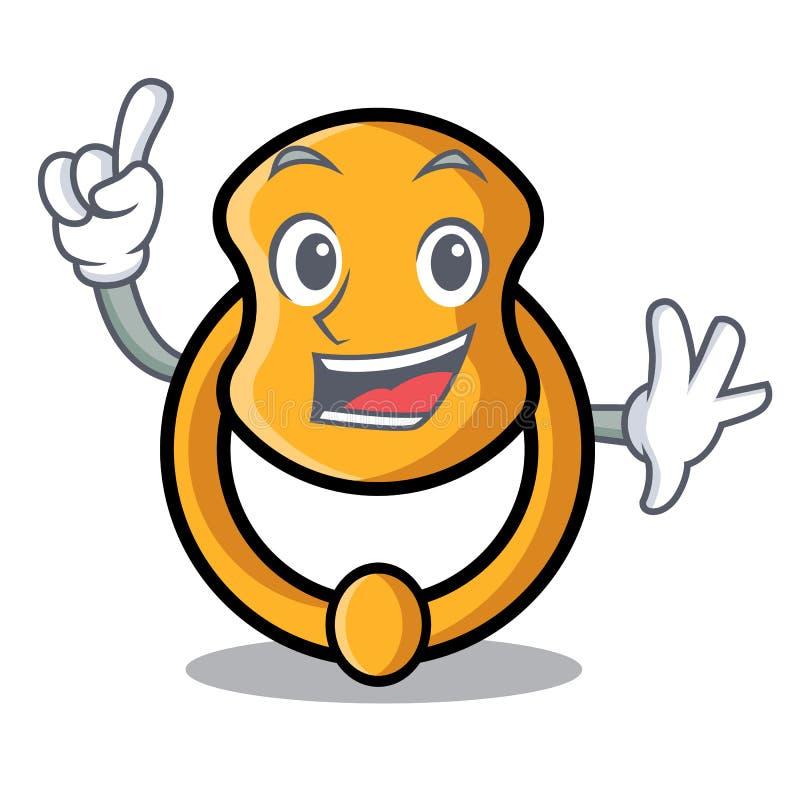 Finger vintage door knocker on mascot cartoon vector illustration