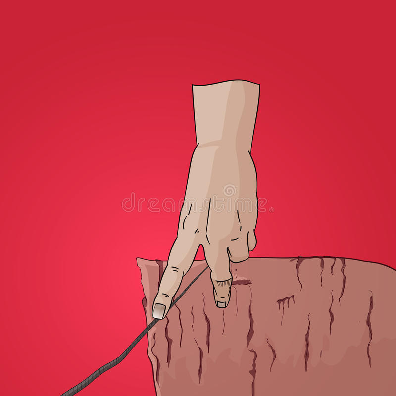 Finger walk on string cliff vector royalty free stock photography