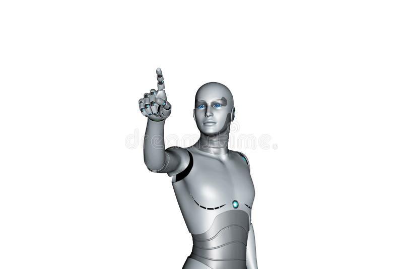 Finger-Zeigen des Roboter-3d lizenzfreie abbildung