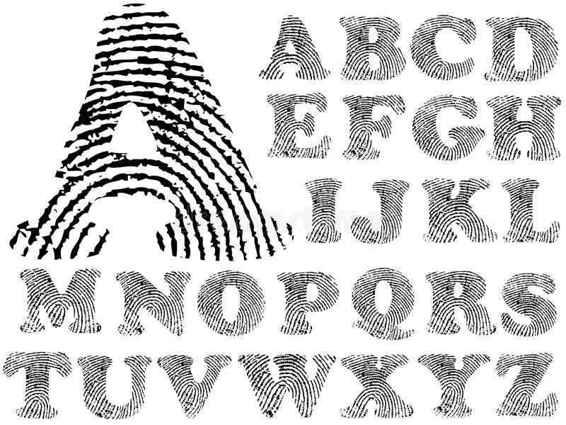 Fingerabdruck-Alphabet vektor abbildung