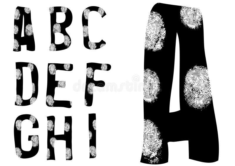 Fingerabdruck-Alphabet voll A bis I (stellen Sie 1 von 3) ein lizenzfreie abbildung
