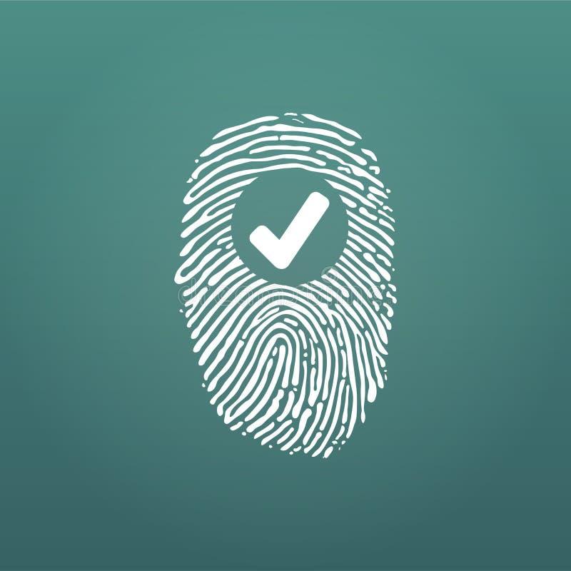 Fingerabdruck-Erfolgs-Ikone, thumbprint mit Prüfzeichen Vektorillustration lokalisiert auf modernem Hintergrund stock abbildung