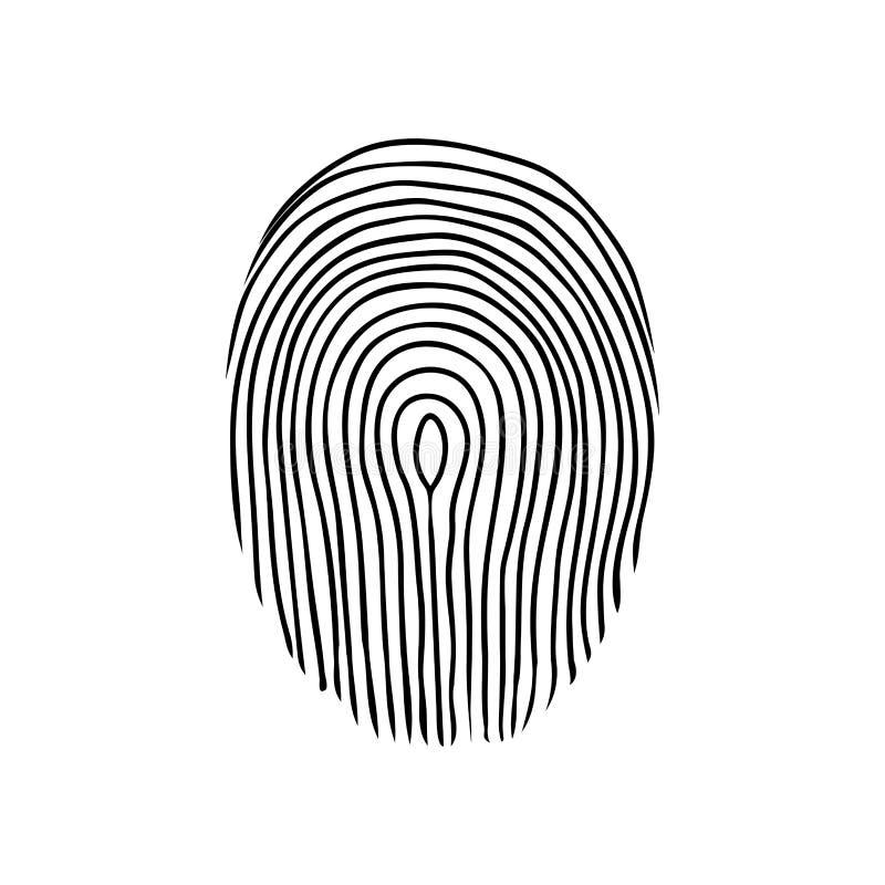Fingerabdruck oder dactylogram Der Beweis in der Detektivuntersuchung des Verbrechens Symbol des Schutzsystems stock abbildung