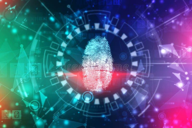 Fingerabdruck-Scannen-Identifizierungs-System Biometrisches Ermächtigungs- und Geschäftssicherheitskonzept vektor abbildung