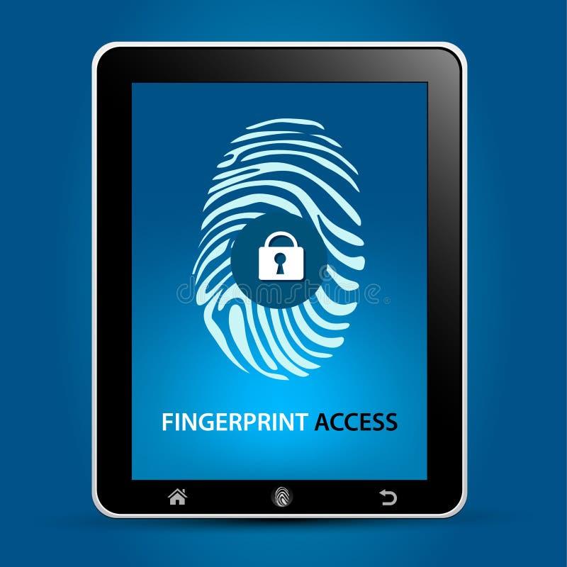 Fingerabdruck-Scannen-Tablette stock abbildung