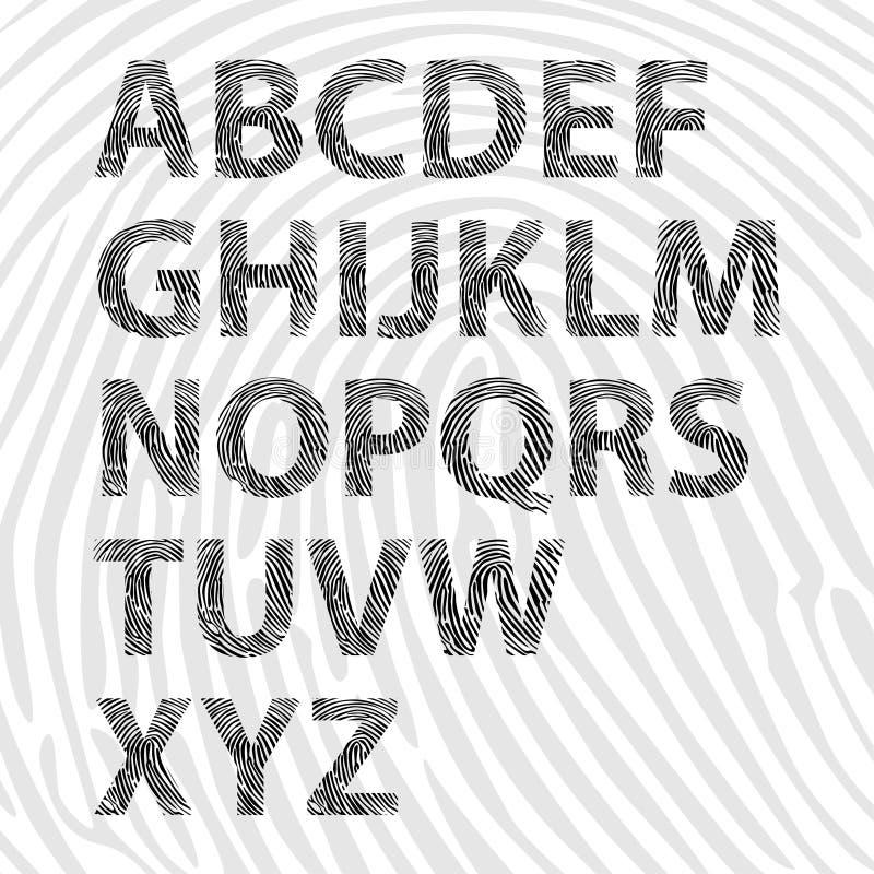 Fingerabdruckalphabetzeichen lizenzfreie abbildung