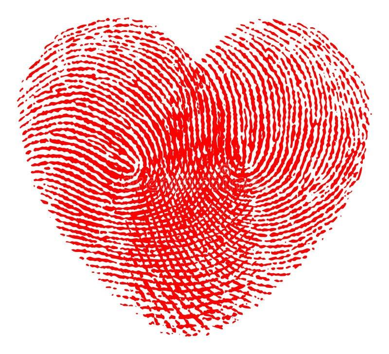 Fingerabdruckherz lizenzfreie abbildung