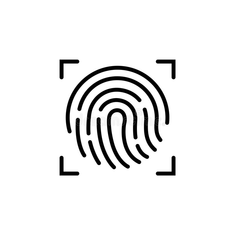 Fingerabdruckikone Symbol für Grafik und Webdesign Flache Vektorillustration, EPS10 vektor abbildung