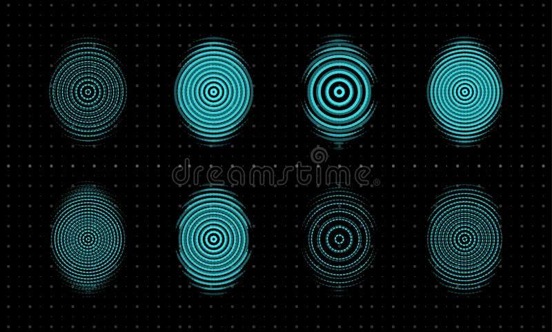 Fingerabdruckikonen eingestellt Biometrische Sicherheit, thumbprint, Fingerscanner Erneuern Technologielogoschablone Konzeptentwu lizenzfreie abbildung