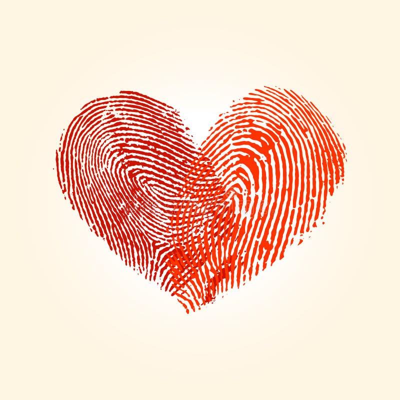 Fingerabdruckliebes-Herzdesign lizenzfreie abbildung