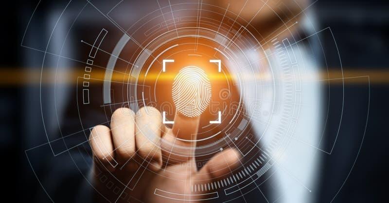 Fingerabdruckscan bietet Sicherheitszugang mit Biometrieidentifizierung Geschäfts-Technologie-Sicherheits-Internet-Konzept stockfotos