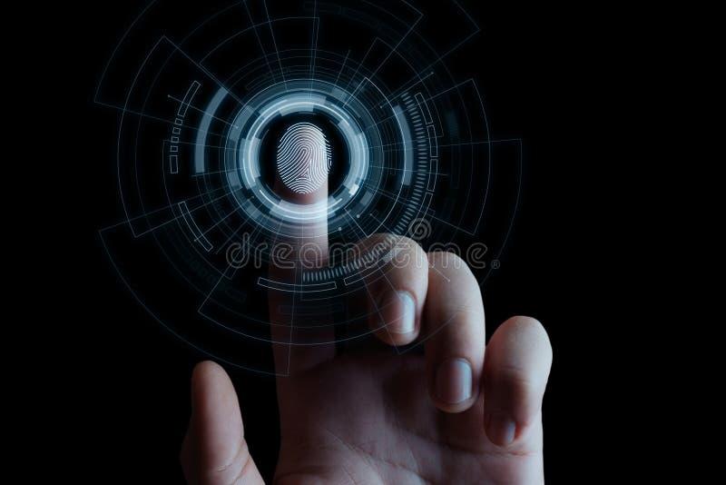 Fingerabdruckscan bietet Sicherheitszugang mit Biometrieidentifizierung Geschäfts-Technologie-Sicherheits-Internet-Konzept stockfotografie