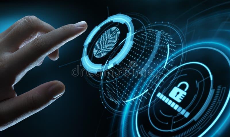 Fingerabdruckscan bietet Sicherheitszugang mit Biometrieidentifizierung Geschäfts-Technologie-Sicherheits-Internet-Konzept lizenzfreie stockfotos